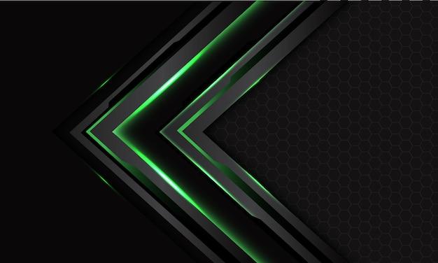 Freccia cibernetica verde astratta del circuito nero su grigio scuro con design a maglia esagonale futuristico moderno