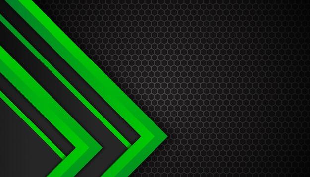 Forme geometriche verdi astratte su fondo scuro