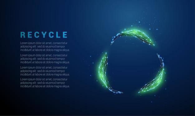 Foglie verdi astratte in cerchio. design in stile low poly. sfondo geometrico blu. wireframe struttura di collegamento della luce. concetto di ecologia moderna. illustrazione isolata.