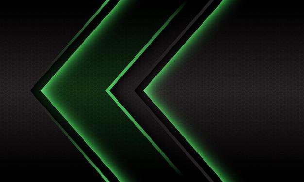 Abstract luce verde freccia direzione geometrica maglia esagonale design moderno sfondo futuristico