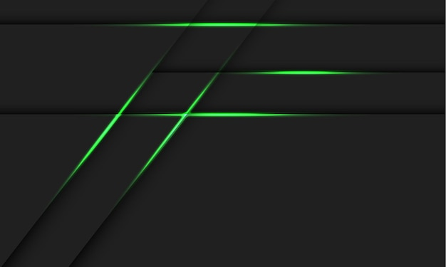 Linea di luce verde astratta ombra su design grigio scuro moderna tecnologia futuristica illustrazione dello sfondo.