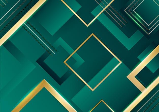 Fondo di lusso verde astratto con la linea dorata su oscurità. stile realistico del taglio della carta 3d. illustrazione vettoriale per banner, poster, brochure, sfondo di presentazione e molto altro