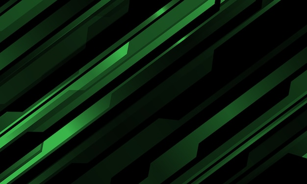 Modello cyber metallico verde astratto sull'illustrazione futuristica nera del fondo di tecnologia moderna.