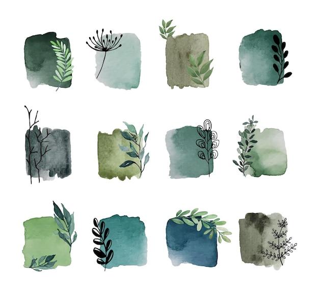 Elementi di macchia acquerello vintage natura verde astratta