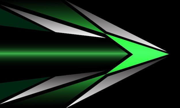Fondo futuristico di tecnologia di direzione della freccia del triangolo metallico argento verde astratto vettore
