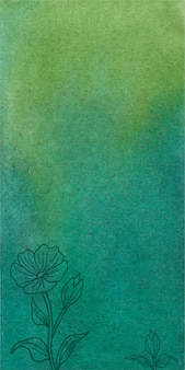 Fondo verde astratto della bandiera dell'acquerello con i fiori disegnati a mano