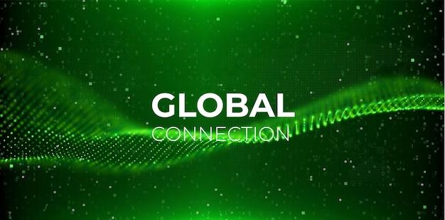 Sfondo astratto wav verde onda di flusso con paesaggio di punti concetto di connessione globale