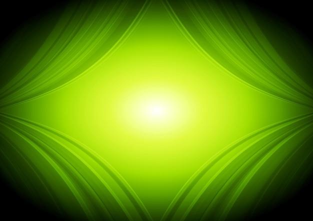 Fondo astratto di tecnologia delle onde verdi. disegno vettoriale