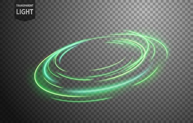 Linea di luce ondulata verde astratta
