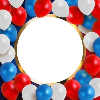 Biglietto di auguri astratto per la vacanza sfondo con palloncini rossi, blu, bianchi