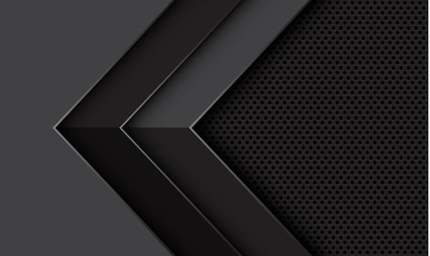 La direzione geometrica dell'ombra della freccia grigia astratta sul fondo futuristico moderno di progettazione della maglia del cerchio