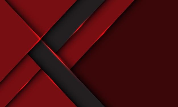 Direzione geometrica dell'ombra della freccia grigia astratta su rosso intenso con il fondo futuristico dello spazio vuoto