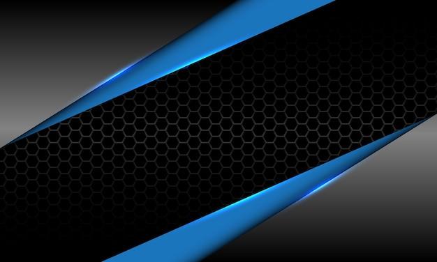 Vettore di tecnologia futuristica di lusso della maglia esagonale nera geometrica metallica blu grigia astratta