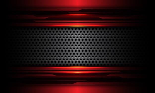 Il metallo della maglia del cerchio grigio astratto si sovrappone sull'illustrazione futuristica moderna di tecnologia di progettazione del circuito cyber nero metallico rosso