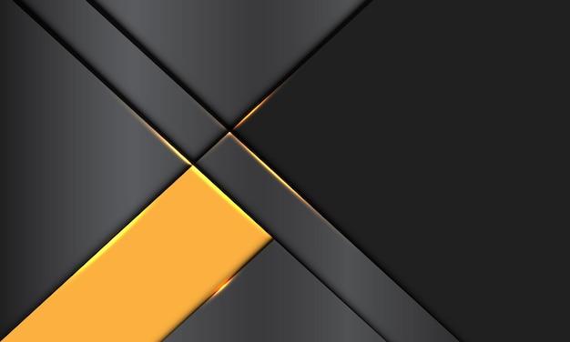 La bandiera gialla metallica grigia astratta si sovrappone con il fondo futuristico moderno di progettazione di spazio vuoto
