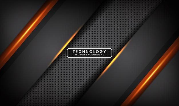 Fondo grigio astratto di tecnologia con effetto della luce arancione sullo spazio scuro