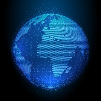 Disegno astratto del globo punti mezzatinta