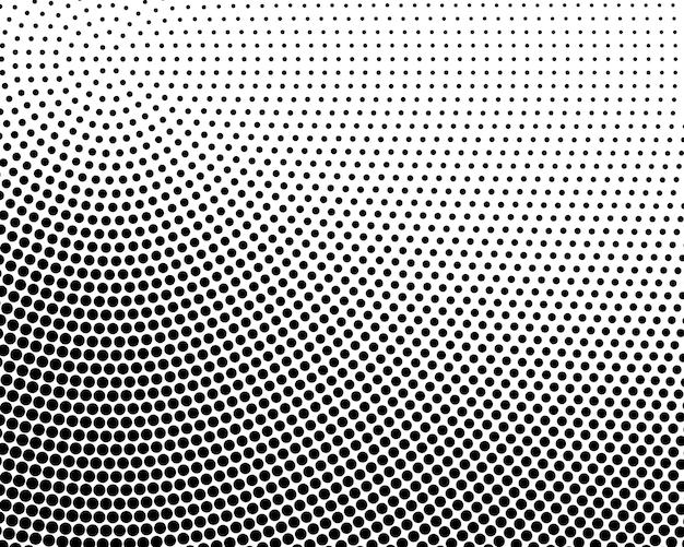 Abstract radiale di semitono punteggiato sfondo bianco e nero - illustrazione vettoriale.