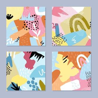 Set di sfondi disegnati a mano astratti