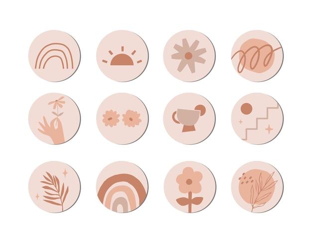 Astratto disegnato a mano boho contemporaneo copertina geometrica evidenzia storie instagram