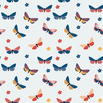 Modello senza cuciture astratto farfalla disegnata a mano. illustrazione