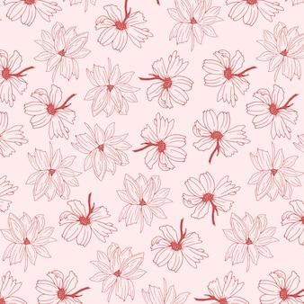 Fiore disegnato a mano astratto con il modello senza cuciture di colore rosa