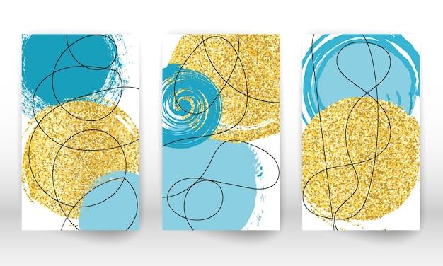 Elementi di design effetto acquerello imitazione disegnati a mano astratti. forme geometriche d'arte moderna. linee di scarabocchio, particelle dorate.