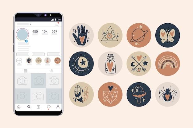 Punti salienti di instagram disegnati a mano astratti