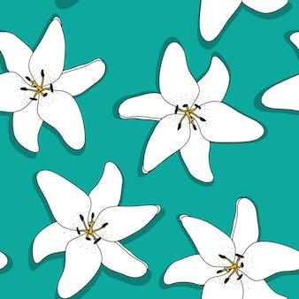 Fondo senza cuciture del modello del fiore di lilly disegnato a mano astratto. illustrazione