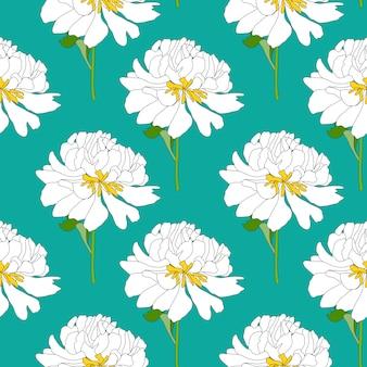 Fondo senza cuciture del modello del fiore della peonia disegnata a mano astratta. illustrazione vettoriale