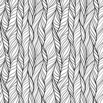 Modello senza cuciture disegnato a mano astratto con linee ondulate e trecce. piastrella con doodle monocromatico ornato con strisce ricci, stampa su tessuto a maglia infinita