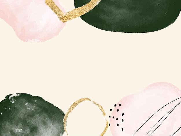 Forme organiche disegnate a mano astratte dell'acquerello nel fondo minimalista di colore verde e oro rosa