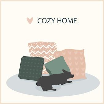 Illustrazione fatta a mano astratta del cane e del cuscino