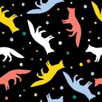 Fondo senza cuciture del modello della volpe fatta a mano astratta. carta da parati infantile artigianale per biglietti di design, pannolini per bambini, pannolini, album di ritagli, carta da regalo per le vacanze, tessuto, stampa di borse, t-shirt ecc.