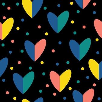 Fondo senza cuciture del modello del cuore fatto a mano astratto. carta da parati artigianale infantile per biglietti di nozze di design, inviti di san valentino, album d'amore, carta da regalo per le vacanze, stampa di borse, t-shirt ecc.