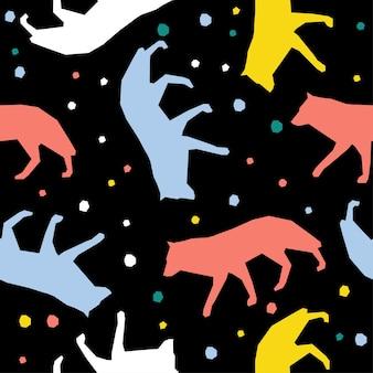 Fondo senza cuciture del modello del lupo fatto a mano astratto. carta da parati infantile artigianale per biglietti di design, pannolini per bambini, pannolini, album di ritagli, carta da regalo per le vacanze, tessuto, stampa di borse, t-shirt ecc.