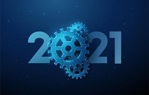 Cartolina d'auguri di felice anno nuovo astratto 2021 con ruota dentata.