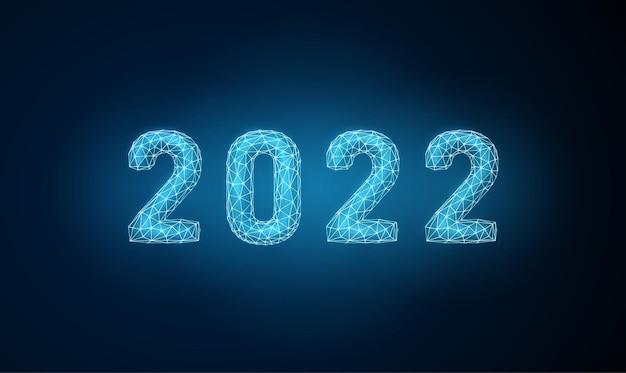 Cartolina d'auguri astratta di felice anno nuovo 2022 design in stile low poly vettore wireframe astratto
