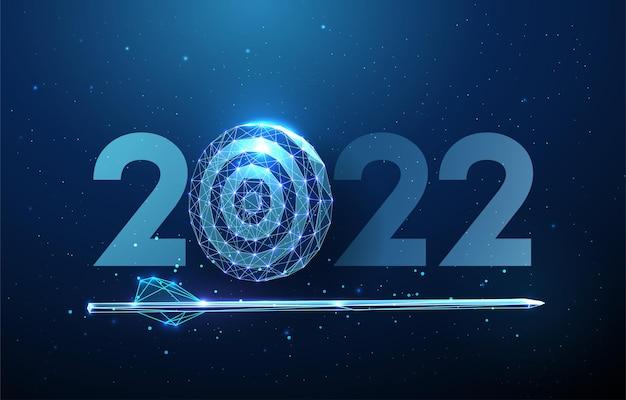 Cartolina d'auguri astratta del buon anno 2022 con la freccia nel tabellone per le freccette