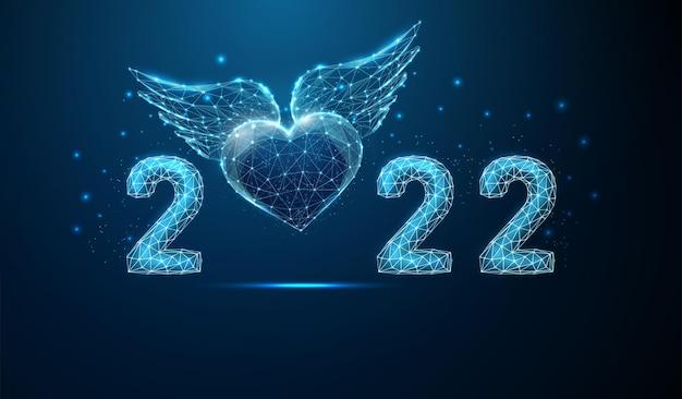 Cartolina d'auguri astratta di felice anno nuovo 2022 con cuore blu volante con ali