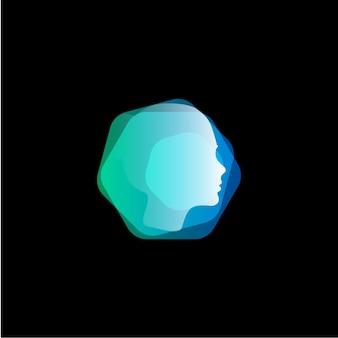 Testa astratta stile capelli forma esagonale vettore logo modello faccia icona nuova tecnologia innovazione