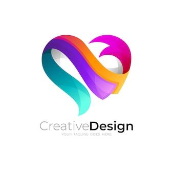 Logo astratto della comunità del logo della cura del cuore, loghi dell'amore e del nastro