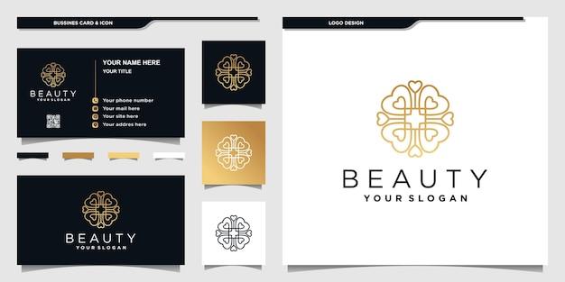 Design del logo astratto del cuore con arte creativa della linea dorata