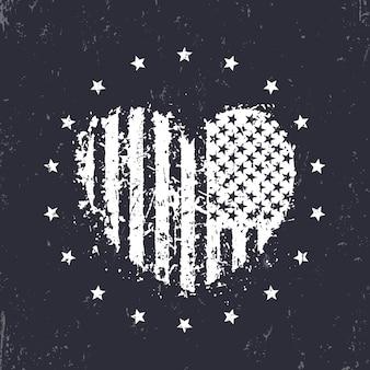 Cuore astratto con bandiera americana, segno patriottico, stampa t-shirt, illustrazione