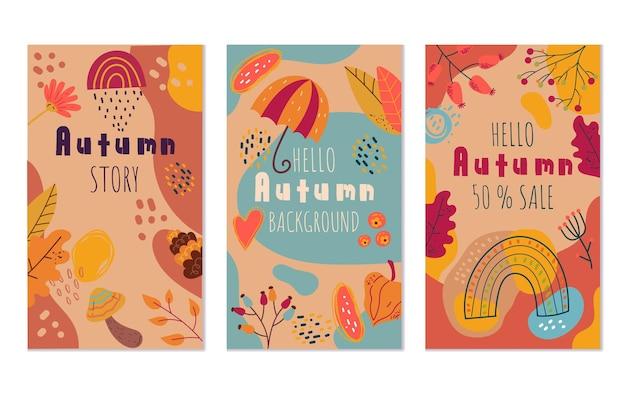 Astratto ciao autunno boho volantini banner invito offerta speciale modello di progettazione isolato set