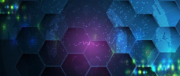 Fondo astratto di esagono. design poligonale tecnologico. minimalismo futuristico digitale. vettore