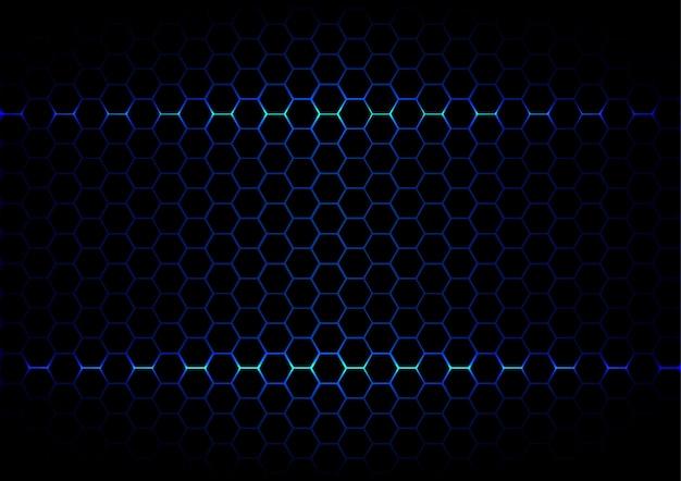 Tecnologia di esagono blu astratto esagono su sfondo di colore nero