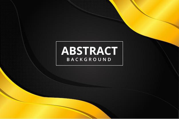 Esagono astratto e carta da parati futuristica moderna del fondo dell'acciaio del metallo dell'oro nel colore nero dorato