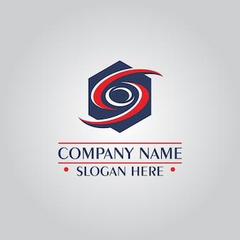 Logo astratto di esagono Vettore Premium