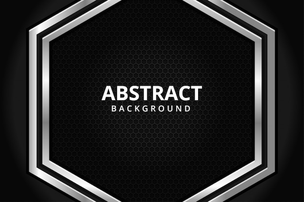 Carta da parati futuristica moderna del fondo dell'acciaio del metallo di esagono astratto in bianco e nero